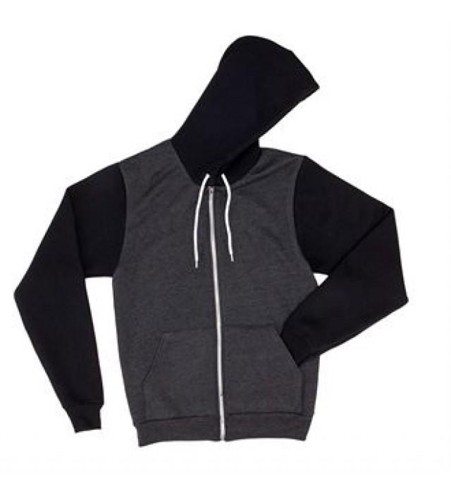 1 Dark Heather Grey//Truffle American Apparel F497 Fleece Zip Hoodie S 1 White