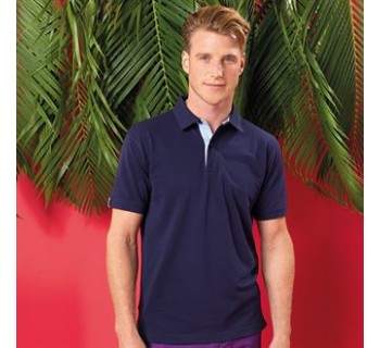 Asquith & FoxCotton polo with Oxford fabric insert