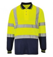 PortwestHi-vis two-tone long sleeve polo shirt (S279)
