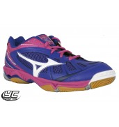 Mizuno Wave Hurricane Womens Court Shoe (Surf the Web/White/Fuschia Purple 2015)