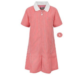 Zeco Gingham Dress Red