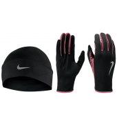 Nike Mens Run Dry Hat & Glove Set Black/Redwood/Silver