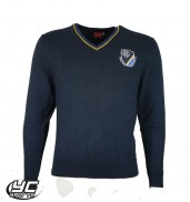 New ST Teilos Boys Jumper Navy with Royal/Amber Tip