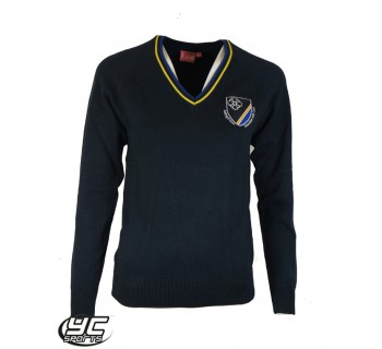 New ST Teilos Fitted Jumper Girls Navy with Royal/Amber Tip