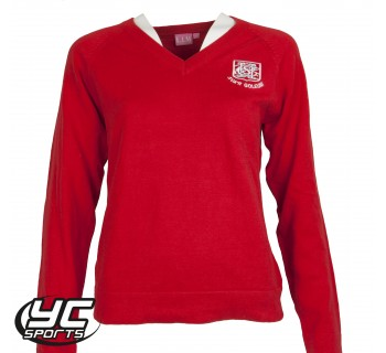 Cardiff High School Girls Red Fitted Jumper