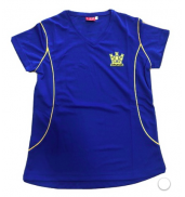 Cyfarthfa PE T-Shirt Girls (v-neck) ROYAL/AMBER