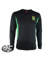 2017 Fitzalan High School Long Sleeves PE T Shirt BLACK/EMERALD
