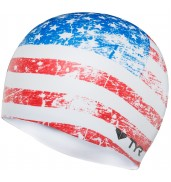 LCSUSG OLD GLORY FLAG SWIM CAP 100 WHITE O/S