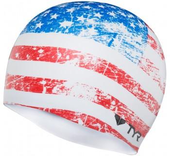 LCSUSG OLD GLORY FLAG SWIM CAP 100 WHITE O/S