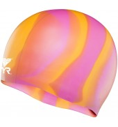 LCSM MULTI-COLOR SILICONE SWIM CAP 801 ORANGE/PINK MULTI O/S