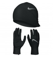 Nike Men'S Essential Running Hat And Glove Set BLACK/SILVER