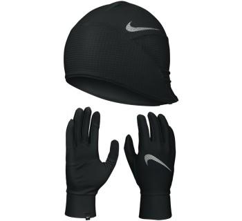 Nike Men'S Essential Running Hat And Glove Set BLACK/SILVER