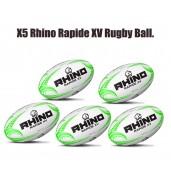 Rhino Rapide XV Rugby Ball Bundle (5 balls)